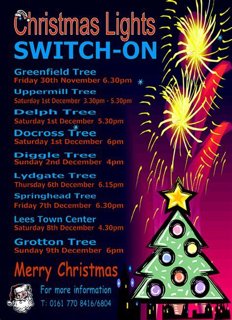 christmas lights switch on in saddleworth insaddleworth