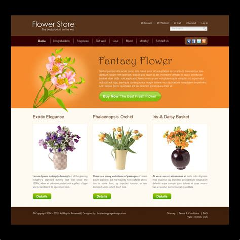 flower design website flower and gifts website templates design psd for your