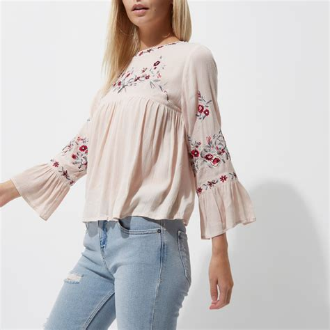 River Island Mint Smock embroidered smock top tops sale