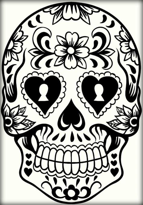 sugar skull design template mexican sugar skull coloring pages for adults color zini