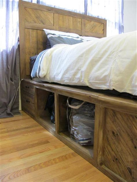 pallet bed with storage diy pallet bed with storage and headboard 101 pallets