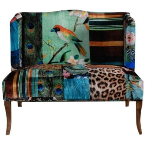 Boho Patchwork Chair - settee in turquoise and leopard animal print birds
