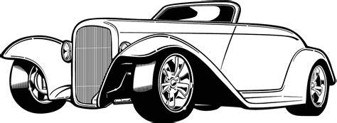 Black And White Car Clipart Free Download Clip Art Rat Rod Coloring In