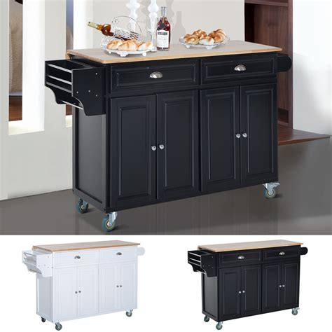 homcom modern rolling storage cart with wood top kitchen