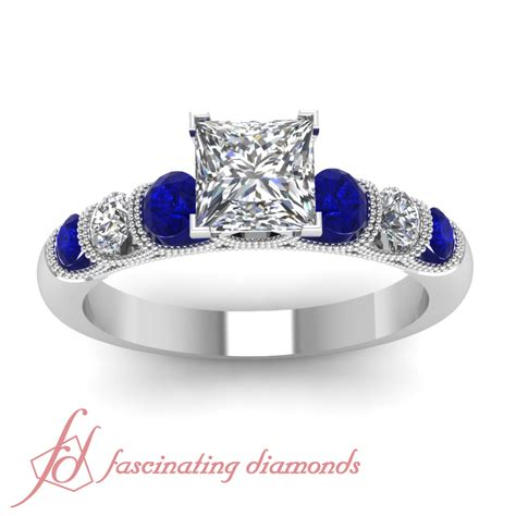1 carat princess cut vintage and blue sapphire