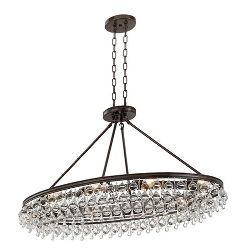 Crystorama Calypso 8 Light Crystal Teardrop Vibrant Bronze Oval Chandeliers