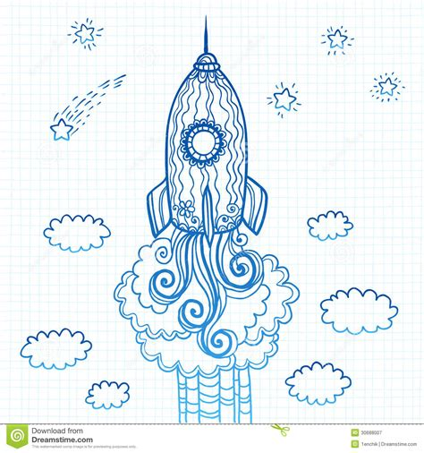 doodle how to make rocket vector ornate doodles rocket starting to space royalty