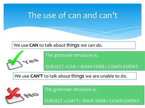 can use the use of can and can t