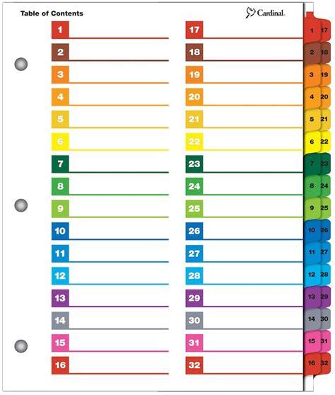 Printable Tab Dividers