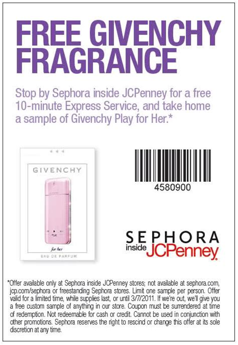 printable jcpenney sephora coupons jcpenney free givenchy fragrance printable coupon