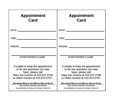 sle appointment card template appointment reminder