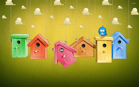 colorful bird houses colorful bird houses wallpaper digital wallpapers