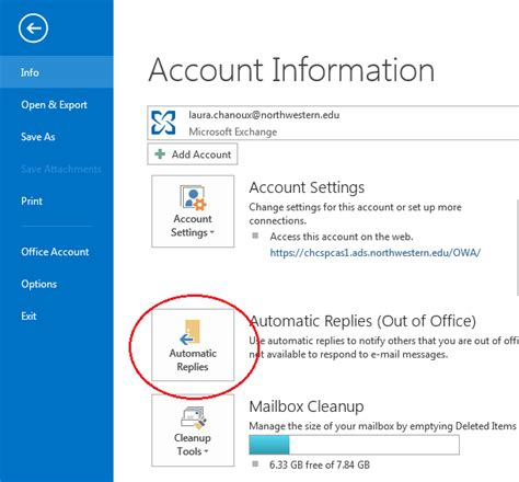 How To Set Out Of Office In Outlook 2007 by Set Up Out Of Office Vacation Messages Weinberg