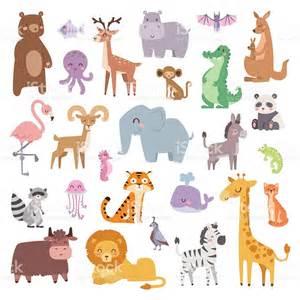 cartoon zoo animals big set wildlife mammal flat vector