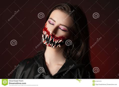 Film Build Up In Mouth | teeth halloween stock photo image 61401472