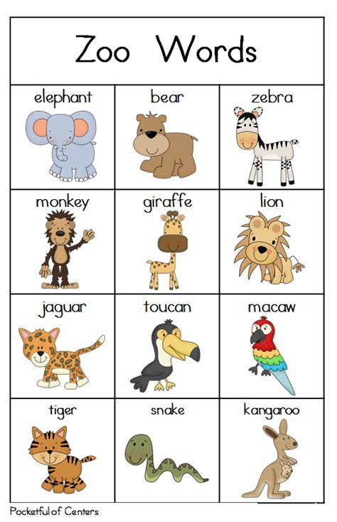 animal pattern words zoo writing center writing centers zoos and minis