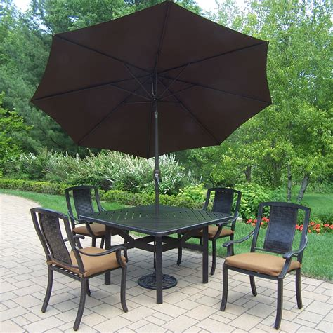 Outdoor Patio Dining Sets With Umbrella Oakland Living Aluminum Patio Dining Set W 48x48 Quot Stackable Chairs Sunbrella Fabric Cushions
