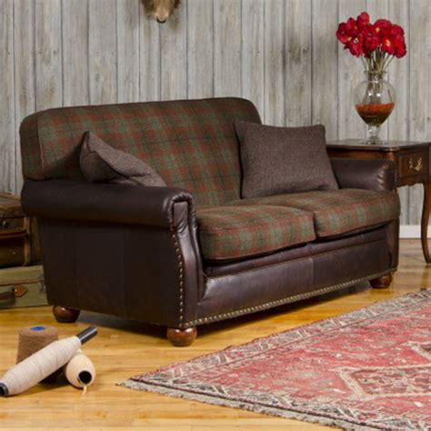 Leather And Tweed Sofa Tetrad Harris Tweed Montrose Petit Sofa