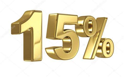 descuento de 15 d 237 gitos en metal oro quince por ciento de oro de la muestra foto stock