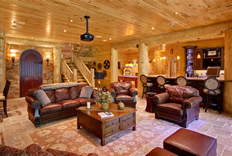 log house interior incorporating indoor entertainment areas into your log home