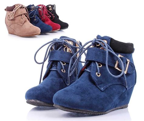 youth high heels navy lace up wedge high heels youth ankle boots