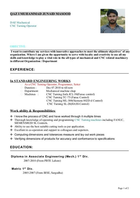 machinist resume sle cnc machine operator resume sle 28 images chemical