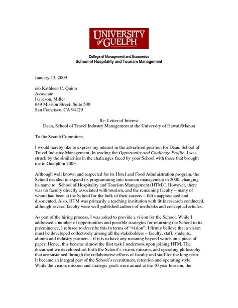 best photos of professional letter of interest exles sle