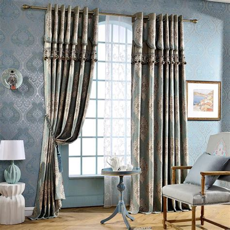 European Style Living Room Curtains European Style Blue Floral Jacquard Chenille Living Room