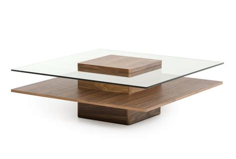 Walnut And Glass Coffee Table Modrest Clarion Modern Walnut And Glass Coffee Table Coffee Tables Living Room
