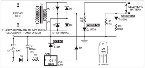 electro mobile phone battery charger circuit