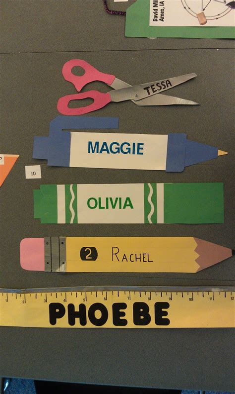 school themed names school supply desk dec creative name tags back to school