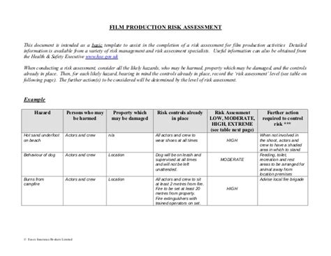 Film Production Risk Assessment Form Risk Waiver Form Template