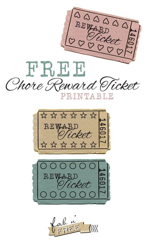 printable reward tickets classroom free printable chore reward tickets them it is and punch