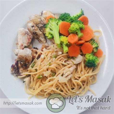 lada ad olio aglio olio spaghetti with grilled chicken recipe letsmasak