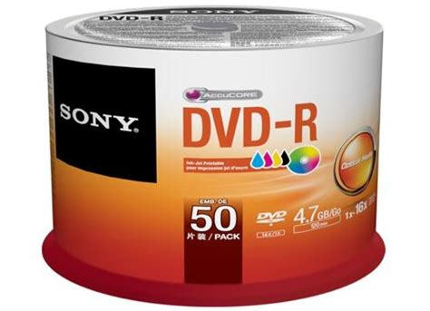 Sony Dvd R Kosong 50 Pack White sony 4 7gb 120 minutes 16x printable dvd r on spindle
