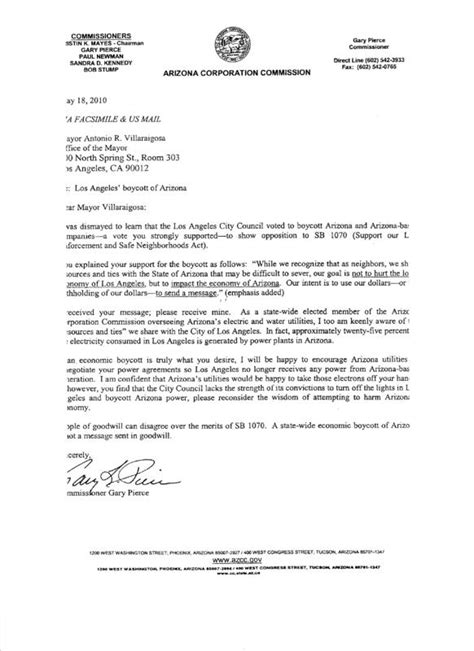 az corporation commission letter to la the