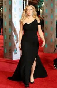 baftas 2016 kate winslet flashes toned legs in super black dress celebrity news
