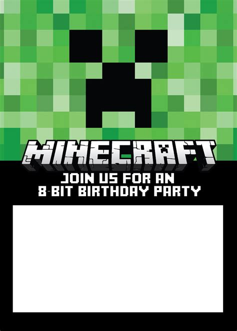 minecraft invitation template free free printable minecraft birthday invitations