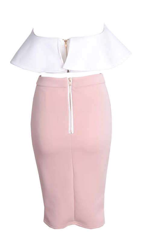 outletpad white peplum crop top with bandage midi skirt