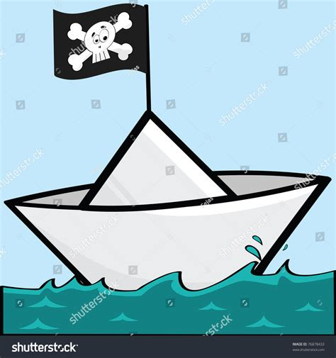 clipart paper boat cartoon illustration paper boat pirate flag stock