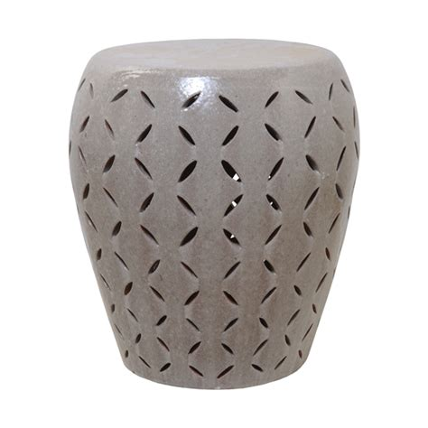 Garden Stool by Large Lattice Gray Glaze Ceramic Garden Stool