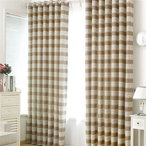 Horizontal Striped Curtains Room Darkening Polyester In Coffee Color Casual Horizontal Striped Curtains