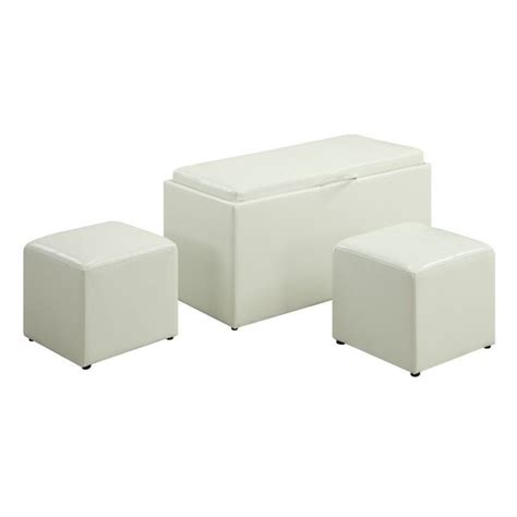 white ottoman storage bench storage bench with 2 side ottomans white 143012w