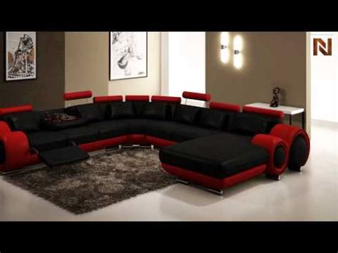 Right Sectional Sofa Modern Black And Red Leather Sectional Sofa Vgev4084 4
