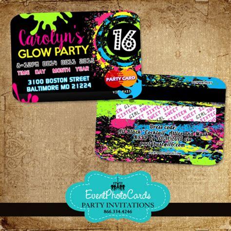 Glow Invitation Weddingku by Glow Sweet 16 Credit Card Style Invitations Neon