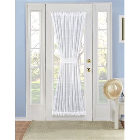 door panel curtains walmart plaid sheer french door curtain panel 72 in white