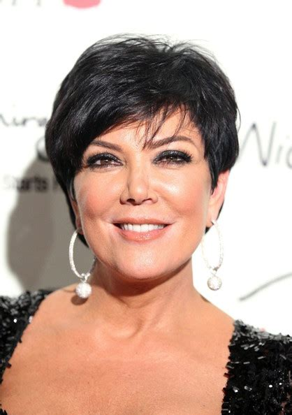 kris kardashian haircolor kris jenner dangling diamond earrings short hairstyle 2013