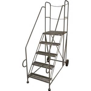 Rolling Stair by Cotterman Straddle Trailer Rolling Ladder 5 Step 800 Lb