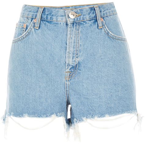 river island light blue ripped high waisted denim shorts