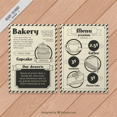 vintage menu template bakery menu template in vintage style vector free